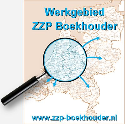 Kaart van Nederland met het werkgebied van ZZP Boekhouder in de randstad uitvergroot