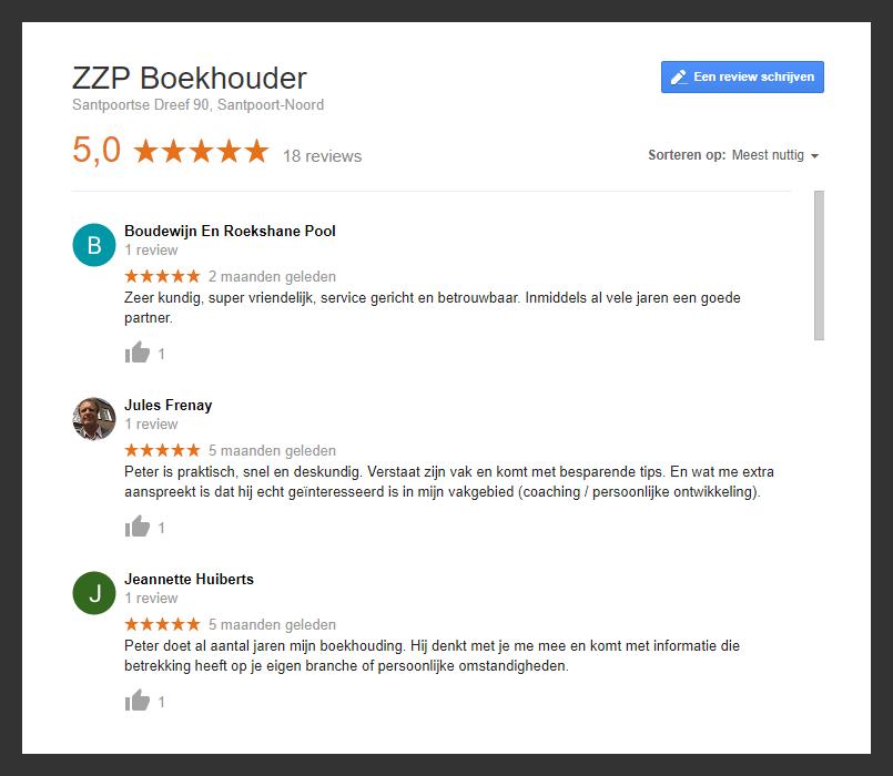 5-Sterren referenties google zzp-boekhouder