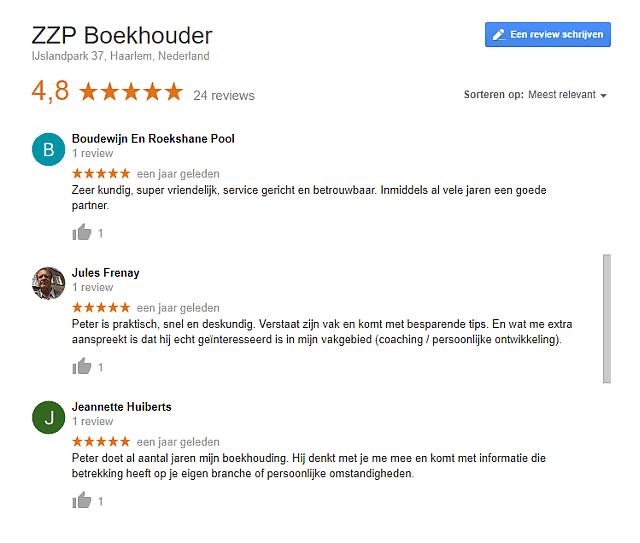 5-Sterren Google referenties ZZP-Boekhouder