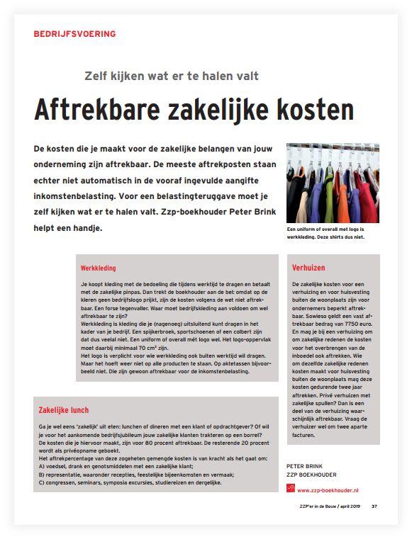 afbeelding van artikel over aftrekbare zakelijke kosten