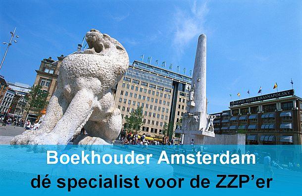 De Dam in Amsterdam met de tekst 'Boekhouder Amsterdam dé specialist voor de ZZP'er'